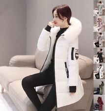 Women Long Down Cotton Padded Parka Fur Collar Hooded Coat Winter Jacket