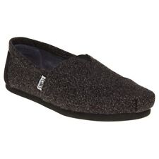 New Womens Toms Black Grey Classic Textile Shoes Canvas Slip On