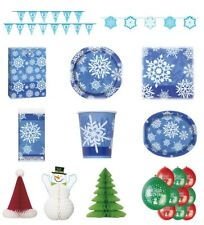 CHRISTMAS XMAS PARTY RANGE SNOWFLAKE - Plates/Cups/Napkins/Tablecovers//Balloons
