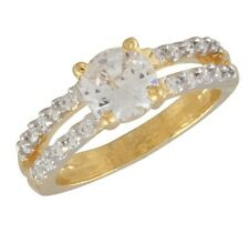 NEW ONE GRAM GOLD PLATED FINGER RING CUBIC ZIRCONIA AMERICAN DIAMOND F501