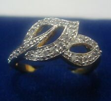 NEW ONE GRAM GOLD PLATED FINGER RING CUBIC ZIRCONIA AMERICAN DIAMOND F465