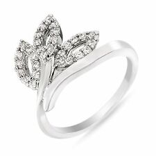BRAND NEW RHODIUM PLATED FINGER RING CUBIC ZIRCONIA AMERICAN DIAMOND F508