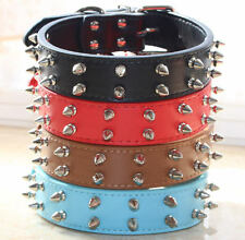 Spiked Studded Dog Collar Large Dog Leather Collar Pet Dog Collar Pit Bull Bully