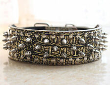 Spikes Studded Dog Collar Gold Leather Dog Collars for Pit Bull Terrier Boxer