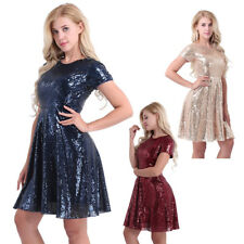 Formal Womens Cocktail Short Sleeve Bridesmaid Sequins A-line Skater Dress
