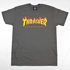 Thrasher Magazine Flame Logo T-Shirt Charcoal Grey (L)