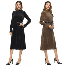Lady Long Sleeve Dress Pleuche Stand Collar Evening Cocktail Party Wear Clubwear