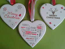 Christmas Heart Hanging Decoration Handcrafted Plaque New