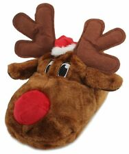 Slumberzzz Adults Unisex Plush 3D Novelty Christmas Rudolph Slippers Brown