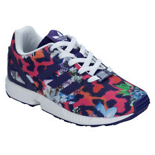 Children Girls adidas Originals Zx Flux Trainers Purple-Lace Fastening-Torsion