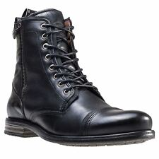 Sneaky Steve Fordham Black Mens Leather Combat Ankle Boots