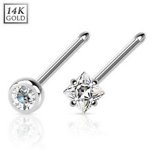 Piercing de nariz 585er 14 Quilates Oro Blanco Enchufe Stud CRISTAL piericing