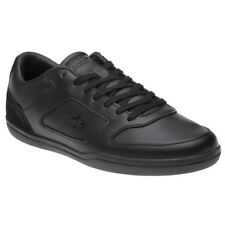 New Mens Lacoste Black Court-Minimal Leather Trainers Lace Up