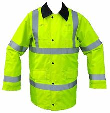 Ex Police Hi Vis Viz Waterproof Rain Traffic Coat Silver Tape Security Events