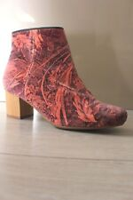 H By Hudson Heeled Daisy Pink Velvet Shoes Liberty Ankle Bootie Boots 5 38 New