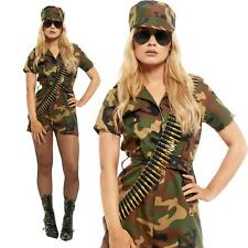 Adult Army Soldier Costume Womens Ladies Girl Camo Uniform Fancy Dress Outfit