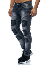 Jeans Skinny Destroyed Jeans Aderenti Uomo Grigio Scuro