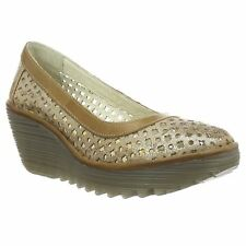 Fly London Yika 733 Luna Camel Womens Closed-toe Wedge Sandals Shoes