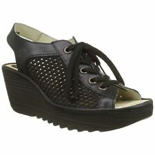 Fly London Yeki 841 Black Womens Leather Perforated Lace-Up Wedge Sandals