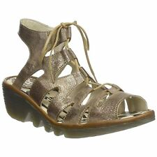 Fly London Port 813 Luna Camel Womens Leather Lace-Up Wedge Strappy Sandals