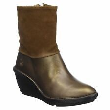 Fly London Sina 671 Olive Camel Womens Leather Suede Zipper Wedge Hi Ankle Boots