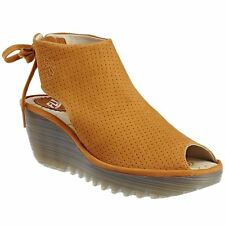 Fly London Ypul 799 Honey Womens Nubuck Peep Toe Back-Laced Wedge Sandals