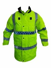 Ex Police Hi Vis 100% Polyester Waterproof Rain Coat Security Marshal Grade B