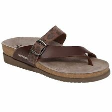 Mephisto Helen Mix Chestnut Womens Leather Open-Back Toe-Post Thong Sandals