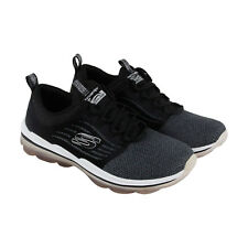 Skechers Air Deluxe Womens Black Mesh Athletic Lace Up Training Shoes