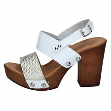 scarpe donna MADE IN ITALY sandali platino pelle bianco BY515