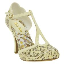 New Womens Ruby Shoo Yellow Polly Textile Shoes Mid Heels Buckle
