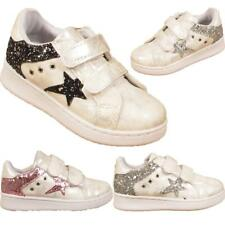 Kids Sports Tennis Girls Infants Childrens Glittery Star Trainers Sneakers Shoes