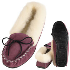 Ladies Sheepskin Suede Moccasin Slippers Lambswool Fluffy Cuff Hard Sole Lilac