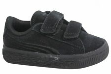 Puma Suede Classic Badge V Infant Strap Up Black Leather Trainers 362953 01 U22