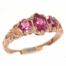 Ladies Solid 14ct Rose Gold Natural Pink Tourmaline English Victorian Style Ring