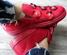 LADIES RED FLAT SLIP ON PLIMSOLLS SNEAKERS TRAINERS GIRLS SKATER SHOES PUMPS