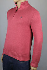 Polo Ralph Lauren Coral Red 1/2 Half Zip Sweater Navy Blue Pony NWT