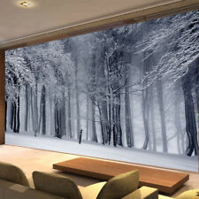 Winter Tree Leaves Forest Photo Wallpaper White Snow Mural Home Bedroom Deco