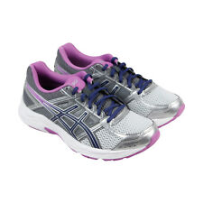 Asics Gel Contend 4 Womens Silver Mesh Athletic Lace Up Running Shoes