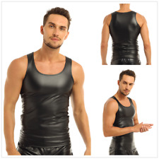 Mens Faux Leather Sleeveless Top Vest Sports Muscle Tank Shirt Undershirt Club