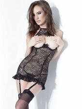 COQUETTE D9281 Sexy pizzo Lingerie Sexy Bustino Reggicalze Babydoll Strap