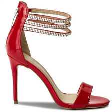 SANDALO DONNA GUESS KATHY TACCO 10 SANDAL LEATHER RED