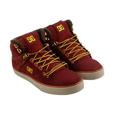 DC Spartan High Wc Mens Red Suede Sneakers Lace Up Skate Shoes