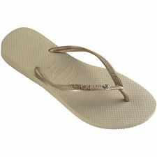 Havaianas Slim Crystal Glamour Femmes Chaussures Tongs - Sand Grey Light Gold