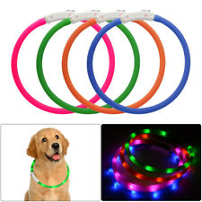 USB Rechargeable Pet Collare LED Flashing Glowing Light per Cane Cani Cat Safety