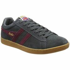 Gola Equipe Graphite Burgundy Mens Suede Classic Low-top Retro Sneakers Trainers