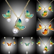 Charm Crystal Pearl Enamel Butterfly Necklace Stud Earrings Jewellery Set Gift