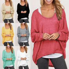 Lady Oversized Loose Long Sleeve Shirt Ladies Baggy Tops Blouse Batwing Jumper