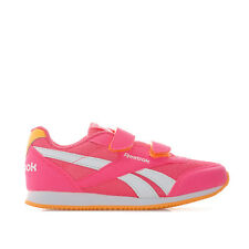Children Girl Reebok Royal Classic Jog Trainers Pink Hook And Loop Stripe