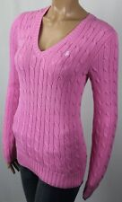 Ralph Lauren Pink Cotton Cable Knit V-Neck Sweater White Pony NWT